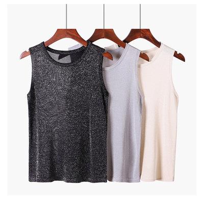 韩版亮丝圆领卷边修身性感吊带夏季新款百搭针织背心打底衫外穿女