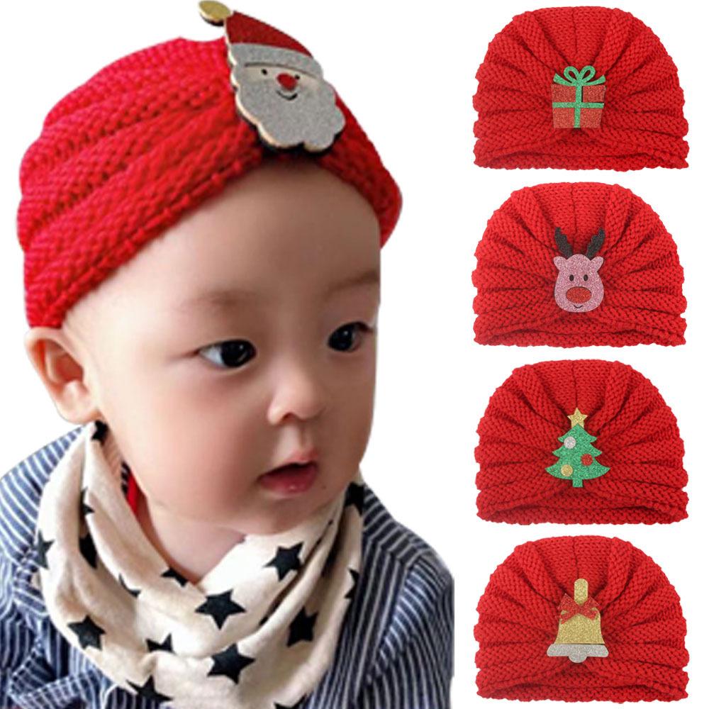 2021新款欧美圣诞节儿童针织帽欧美婴儿宝宝毛线帽Baby hats