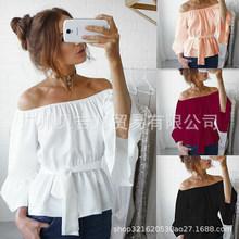 2019亚马逊 Ebay 欧美夏季性感一字领抹胸 大喇叭袖腰带雪纺上衣