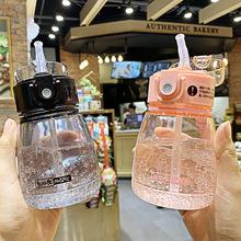 韩国简约布丁吸管塑料杯 网红ins小清新水杯 ?#20449;?#29983;便携户外杯子