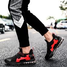 跨境外贸新款全掌气垫缓震运动鞋男士网布跑步鞋休闲大码4546男鞋
