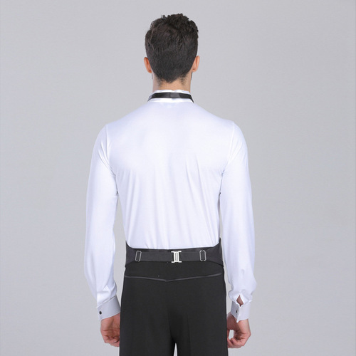 black white latin dance shirts ballroom dance body tops performance training white black men's long sleeve Latin dance shirts