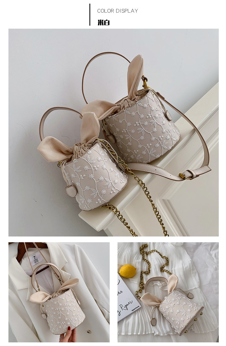 Cute lace embroidered ear drawstring portable bucket bag NHLD146462