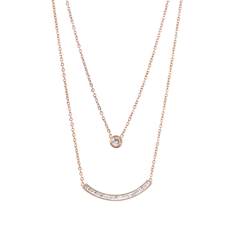 New Titanium Steel Double Smile Face Necklace Rose Gold Smile Clavicle Chain NHJJ182241