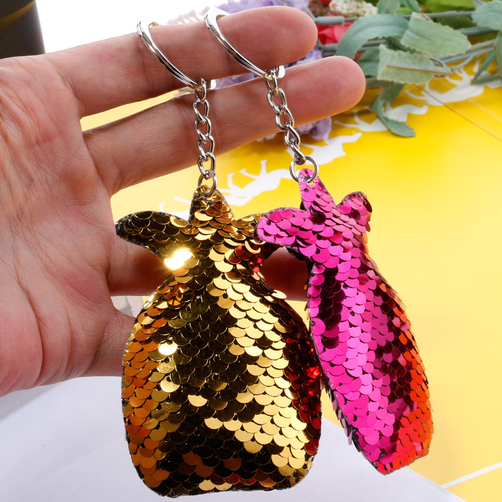 Reflective double-sided sequin key chain pineapple sequin bag car key chain wholesale nihaojewelry NHDI226935