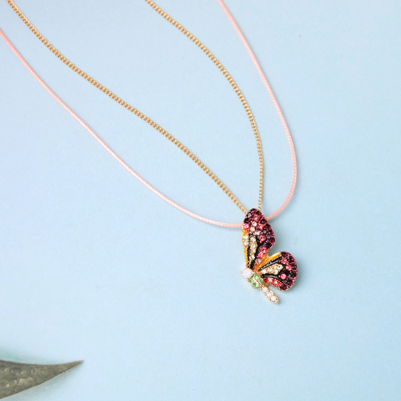 Cute butterfly imitated crystal rhinestone necklace NHQD143930