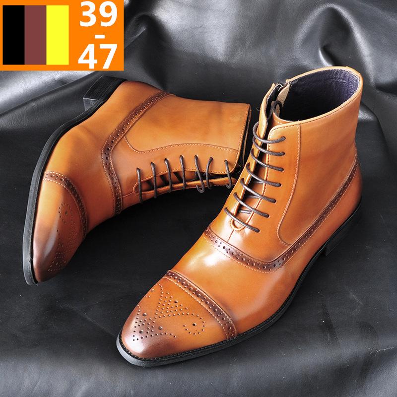 HPIOPL欧美侧拉链男士三接头擦色高帮皮鞋布洛克高腰男马丁靴男鞋