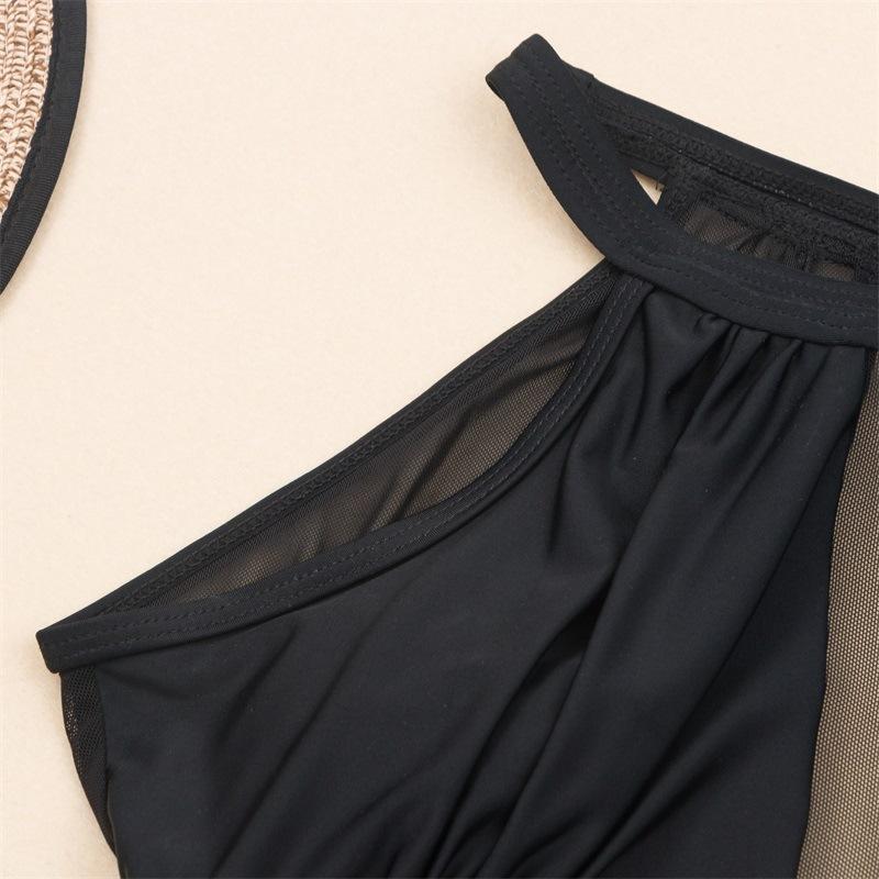 Pure color one-piece sexy mesh stitching women bikini wholesale NHHL198339