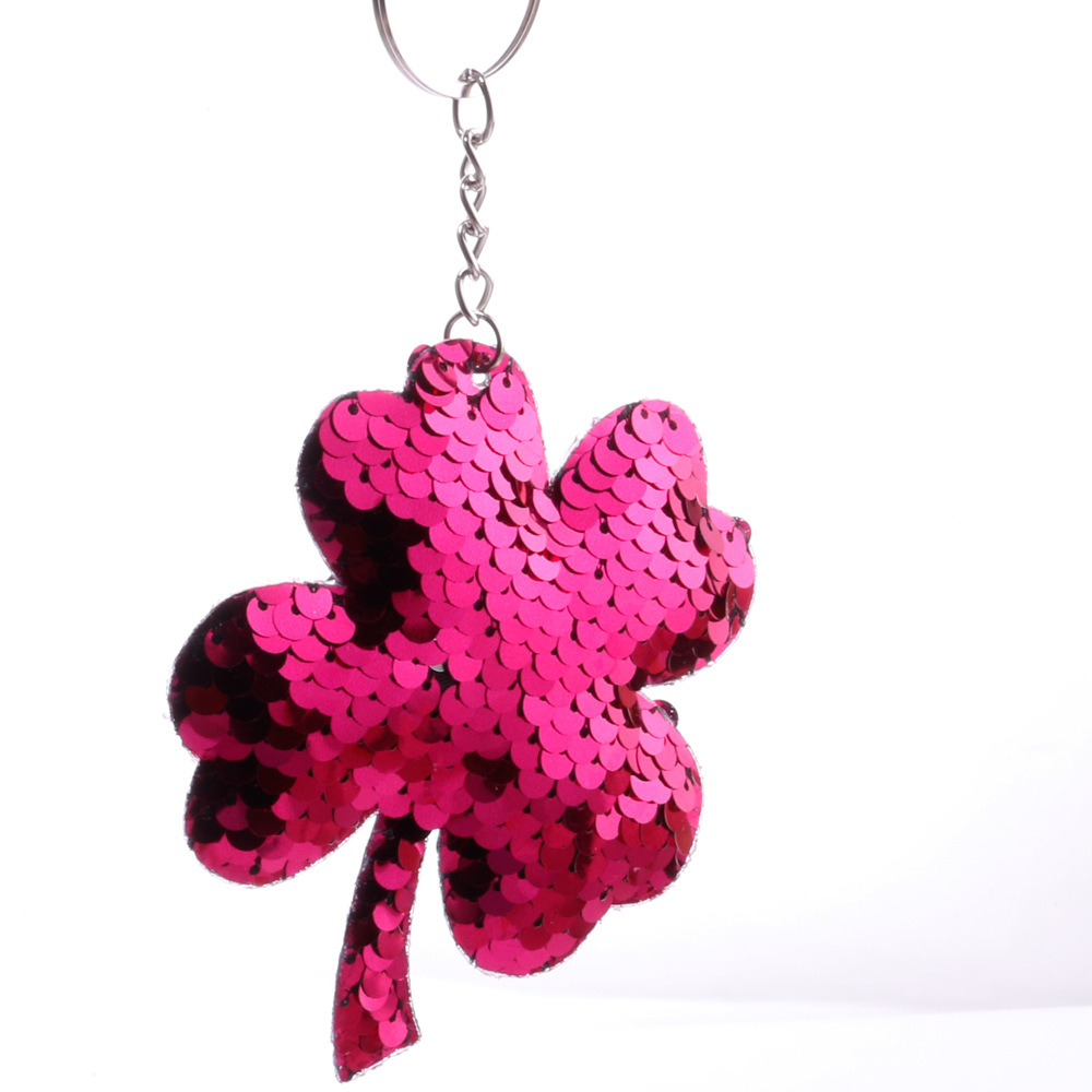 sequins fourleaf clover key chain doublesided reflective shiny plum bag pendant wholesale nihaojewelry NHDI226947