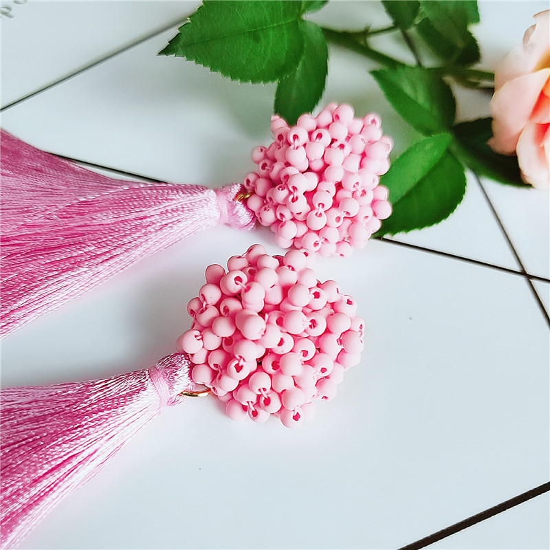 Fashion color bead tassel earrings NHVA142090