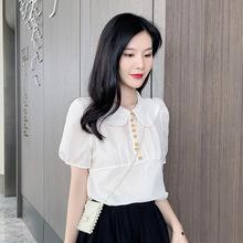 实拍2019夏季新款韩版宽松娃娃领雪纺衫女可爱泡泡袖衬衫上衣
