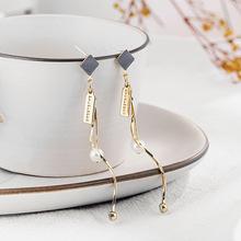 韩国饰品几何珍珠s925银耳饰长款流苏耳钉网红同款礼品批发A122