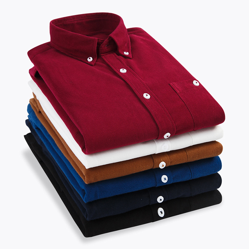 2020 Fall And Winter Men's Slim Casual Fashion Corduroy Multicolor Shirt