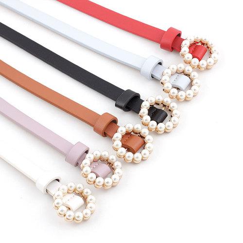 Women's pu leather gemstones pearl belt for dress jeans Korean fashion sweet strap pearl buckle decorative pants belt