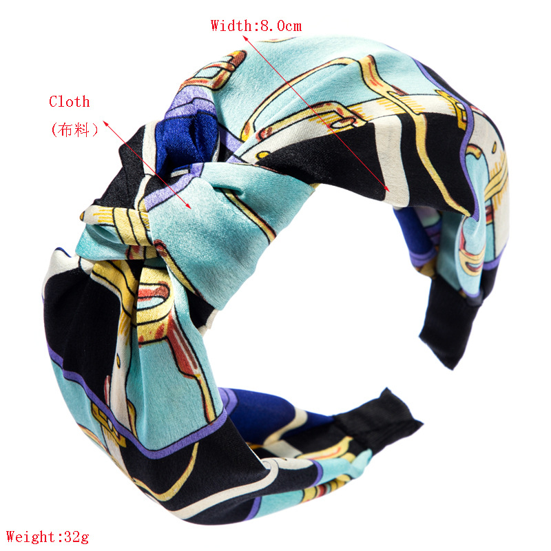 Headband female simulation silk middle twist knot wild chain print knotted wide-brimmed fabric headdress NHLN172891