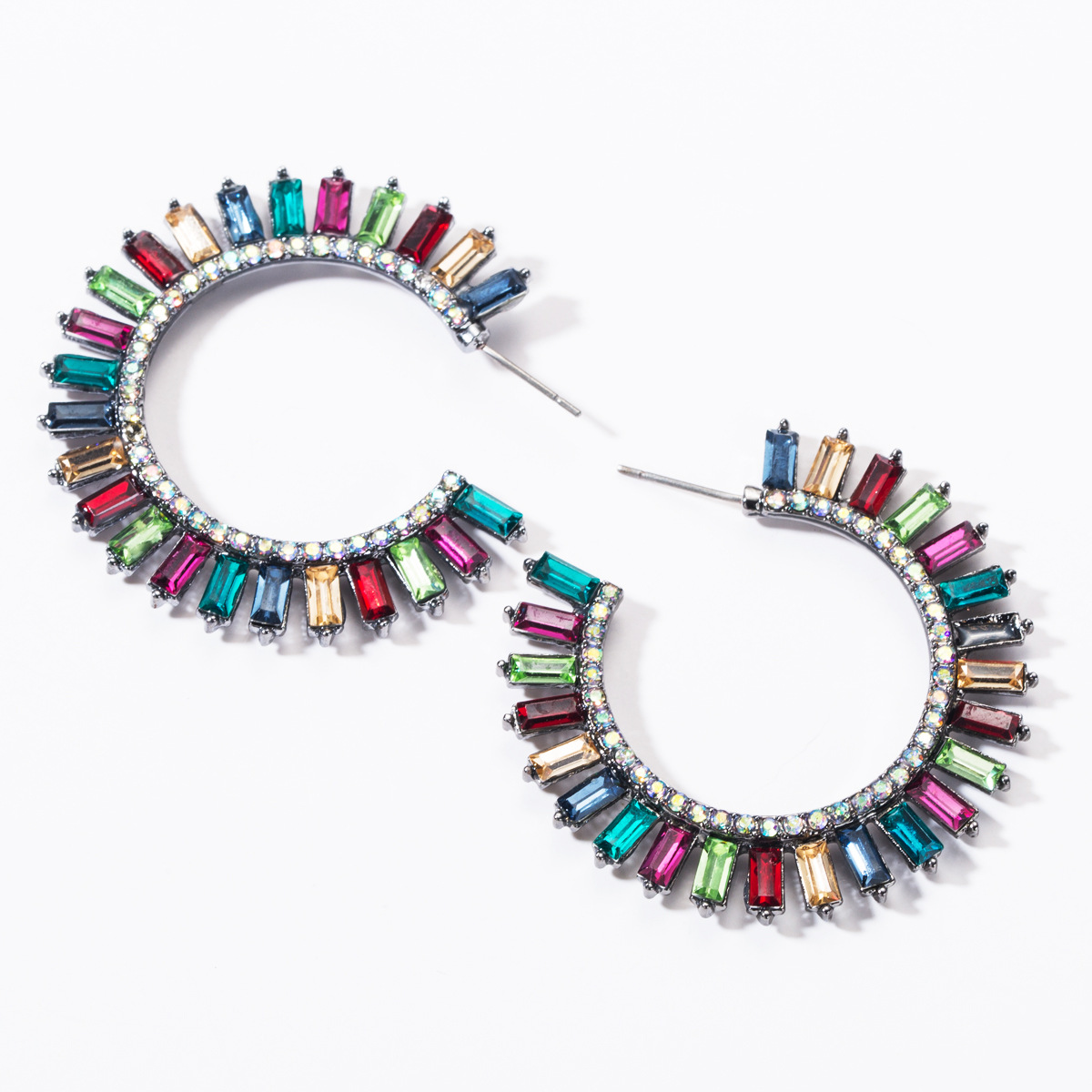 Fashion C-shaped full rhinestone earrings NHJE144682
