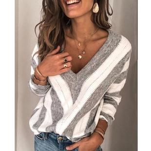 2020 Hot Style AliExpress Hot Sale Casual Fashion Striped Long Sleeve V-Neck Loose Pullover