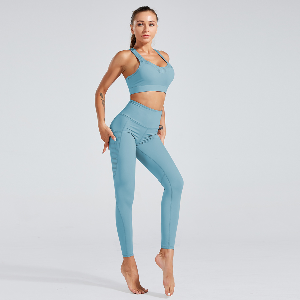 women's high waist tight quick-drying yoga suit NSNS12245