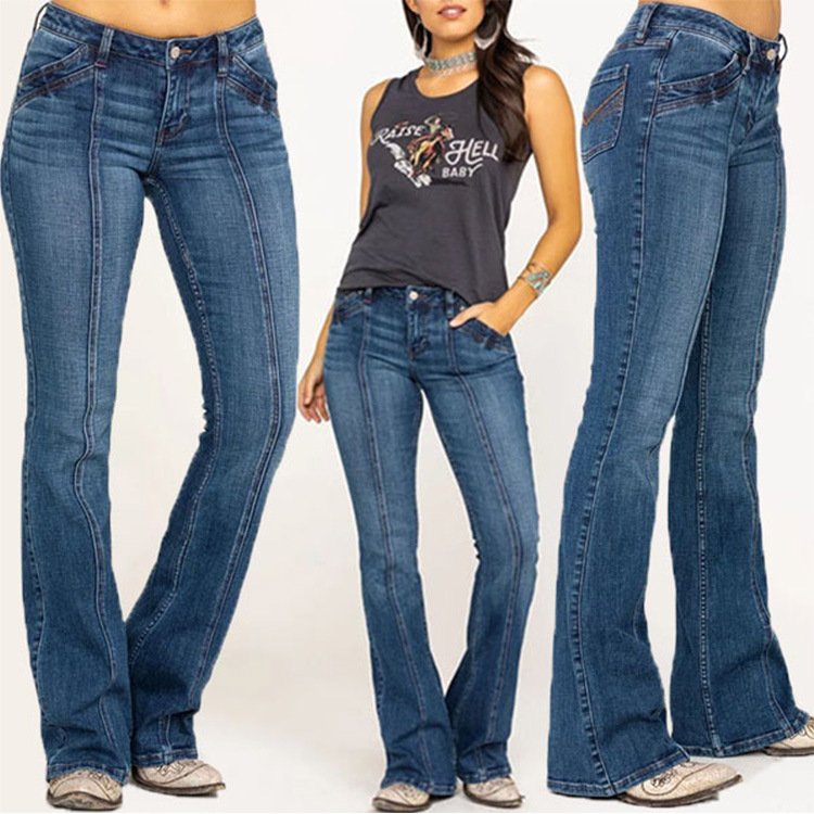 Women's Jeans Slim Slimming Washed Flared Trousers