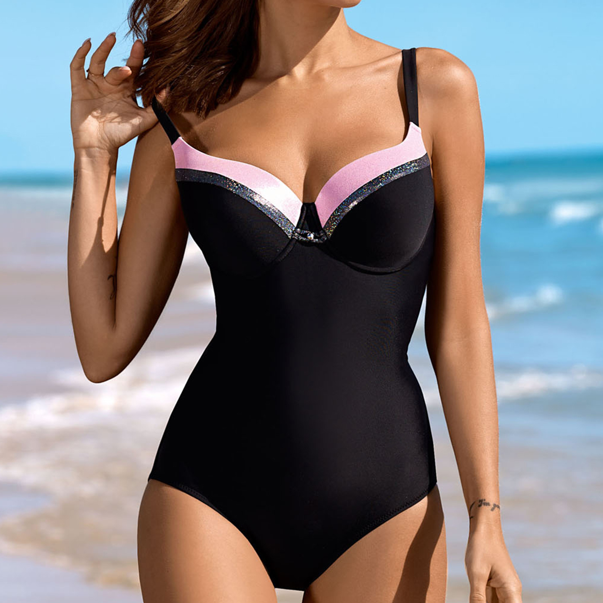 Ladies Underwear Gathered New Triangle One-Piece Swimsuit Colorblock Swimsuit Wholesale NHHL199971