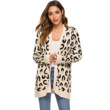 亚马逊豹纹开衫中长款毛衣女开叉针织外套 2019秋冬欧美新款女装