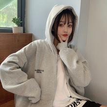 一件代發實拍2019冬季拉鏈衛衣女加絨加厚寬松印花開衫外套口袋