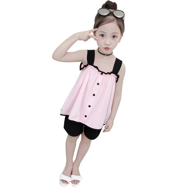 Bộ đồ bé gái 2019 mới mùa hè đầm trẻ em thời trang sling tops Quần short bé gái thời trang hai mảnh Bộ đồ trẻ em