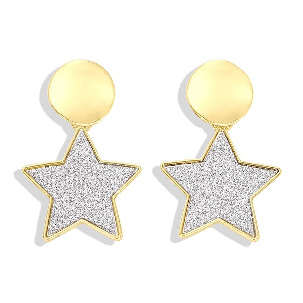 New simple five-pointed star alloy earrings NHJQ149429