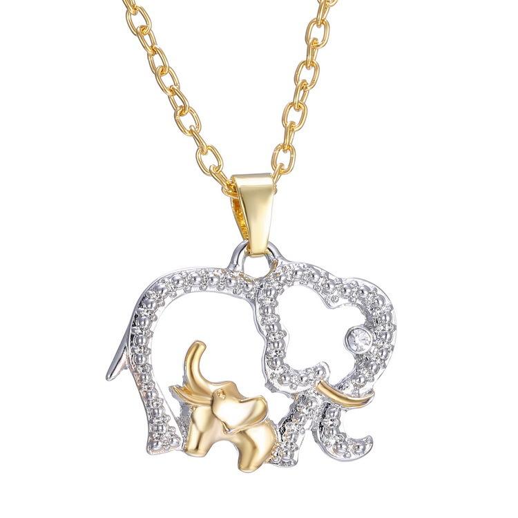 双色大小象项链 女韩国时尚可爱动物大象吊坠饰品 母亲节礼物