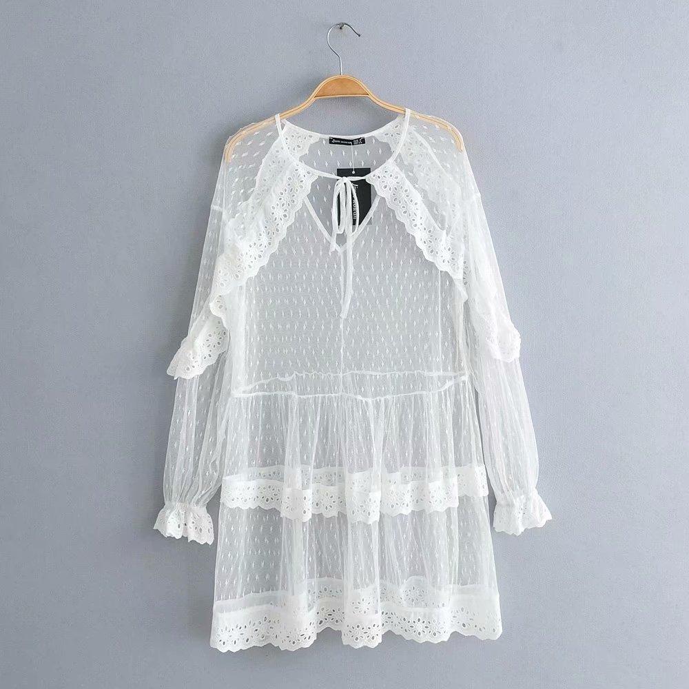 V-neck lotus leaf lace sleeve hollow cake dress NHAM149658