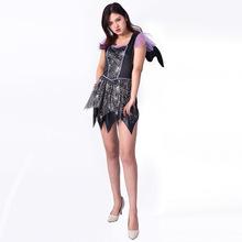 新款万圣节成人舞台表演演出服女款带翅膀黑色短连衣裙派对文化