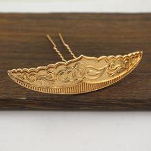 古风铸铜保色金云纹发冠发钗 凤冠头饰发簪材料