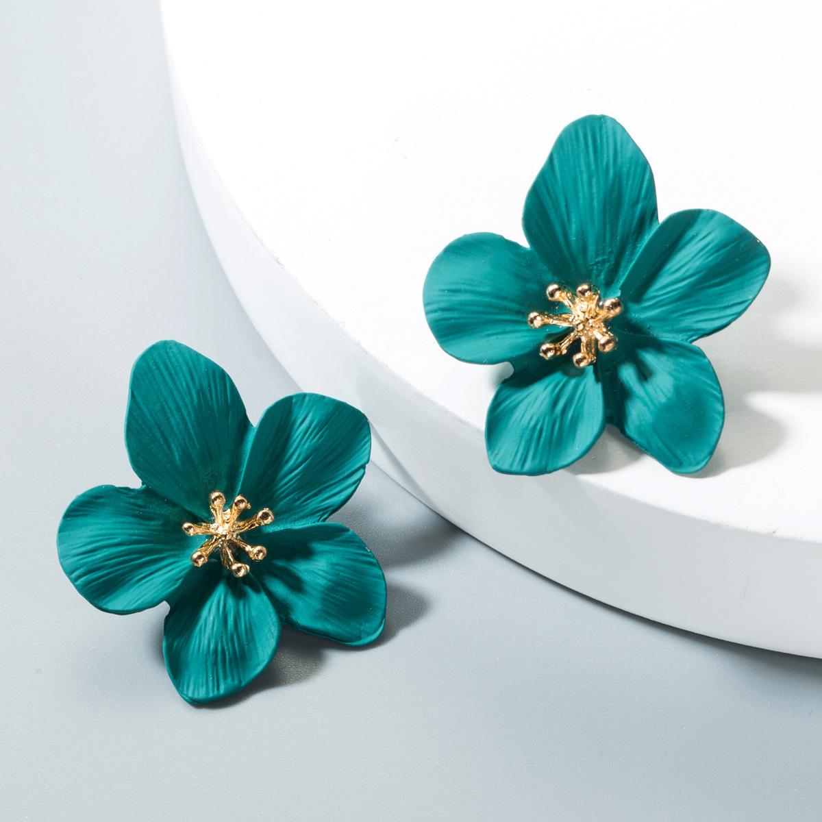 Fashion yellow small fresh petal alloy earrings NHLN152129