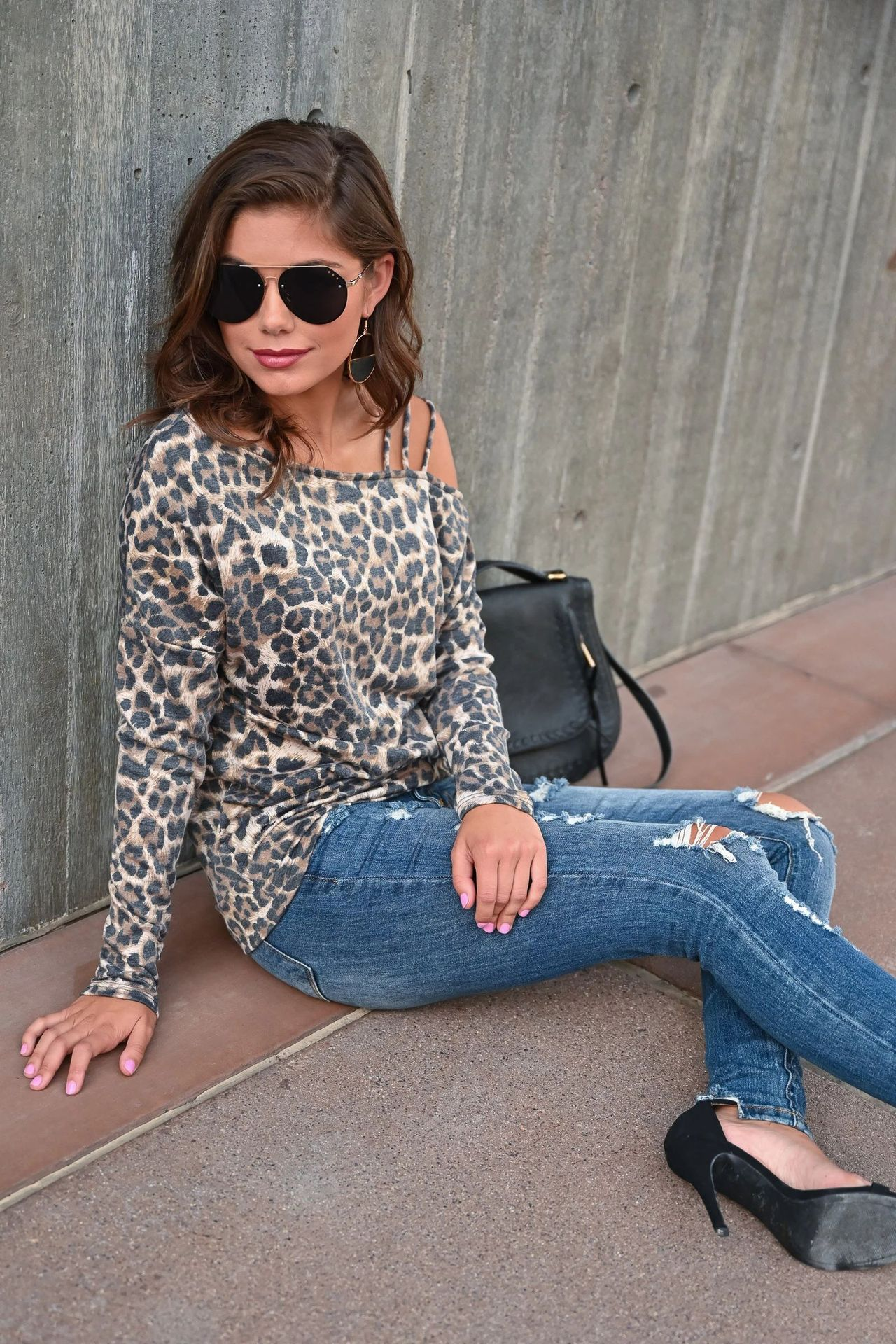 new ladies fashion leopard print strapless bottoming shirt top T-shirt NSYF1081
