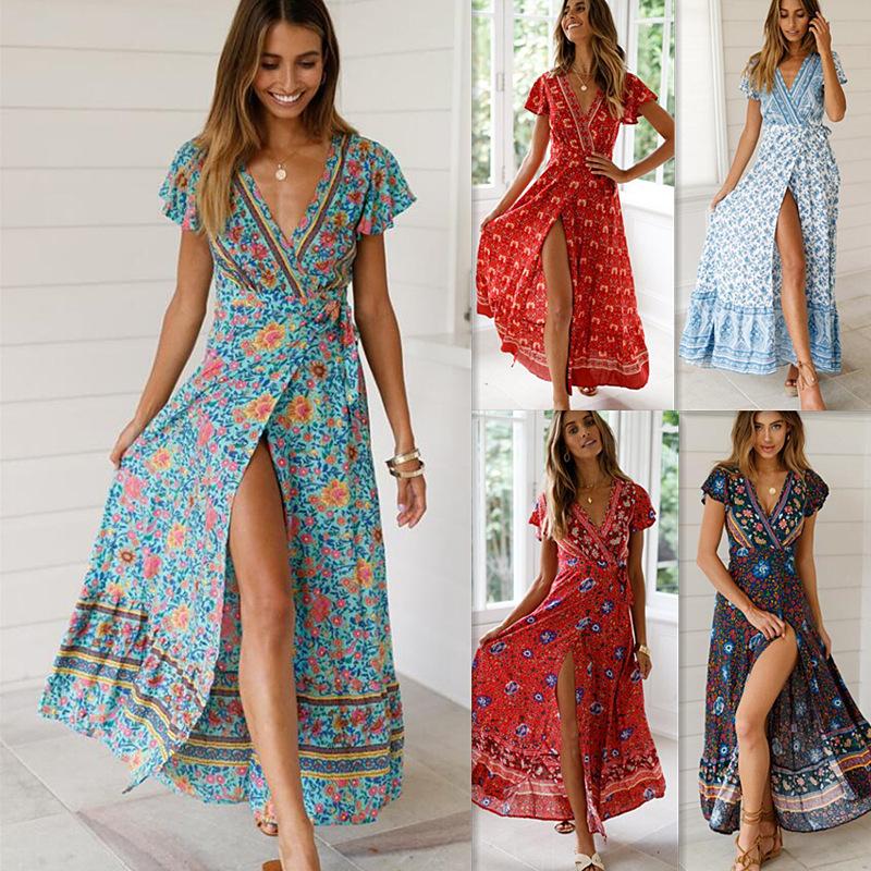 现货 跨境新品 亚马逊夏季休闲热销度假印花连衣裙性感长裙女装