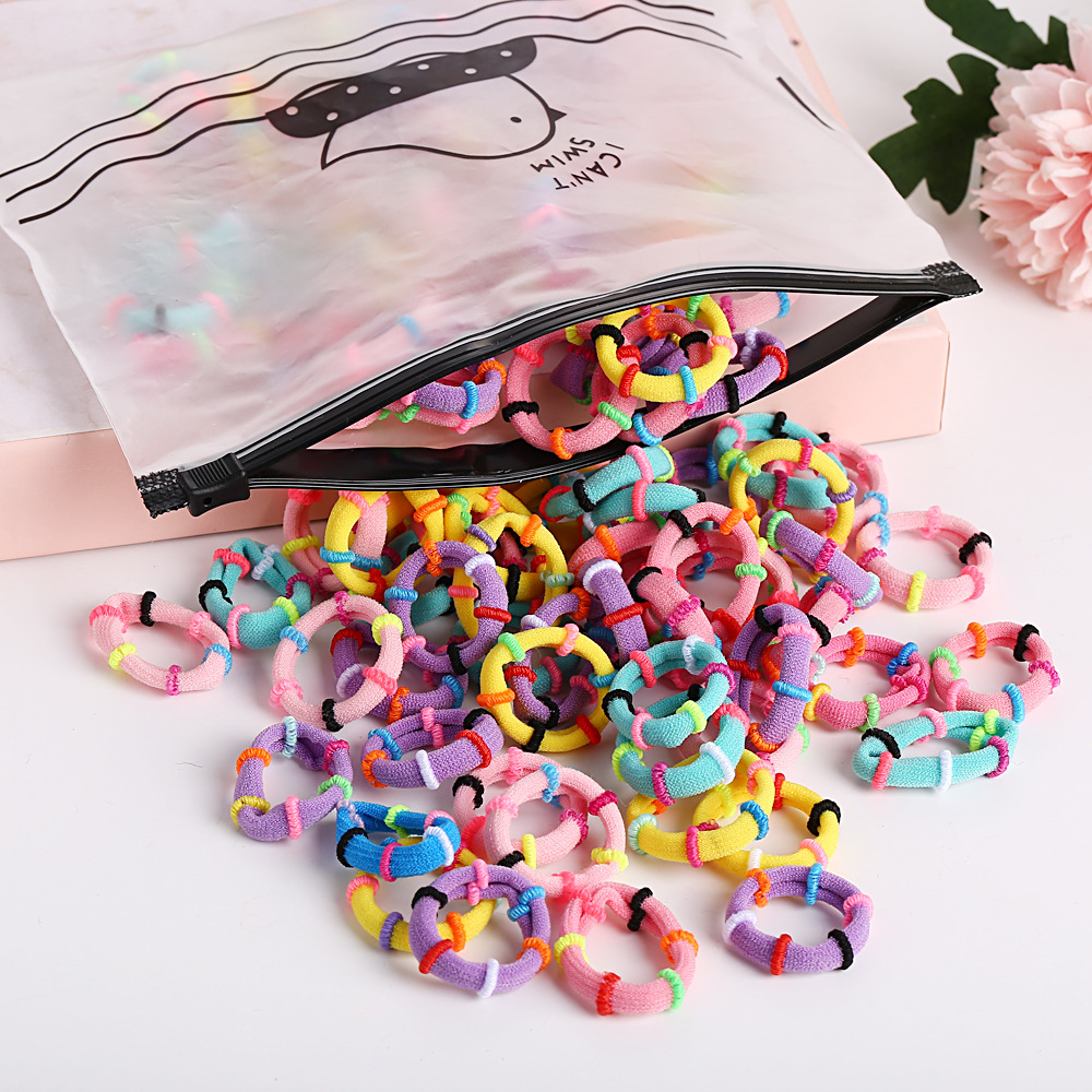 Simple bag high elastic hair accessories seamless candy color hair ring set girl rubber band childrens head rope NHPJ175357