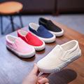 儿童帆布鞋一脚蹬手绘鞋爆款白色运动会品牌童鞋纯色幼儿园学生鞋