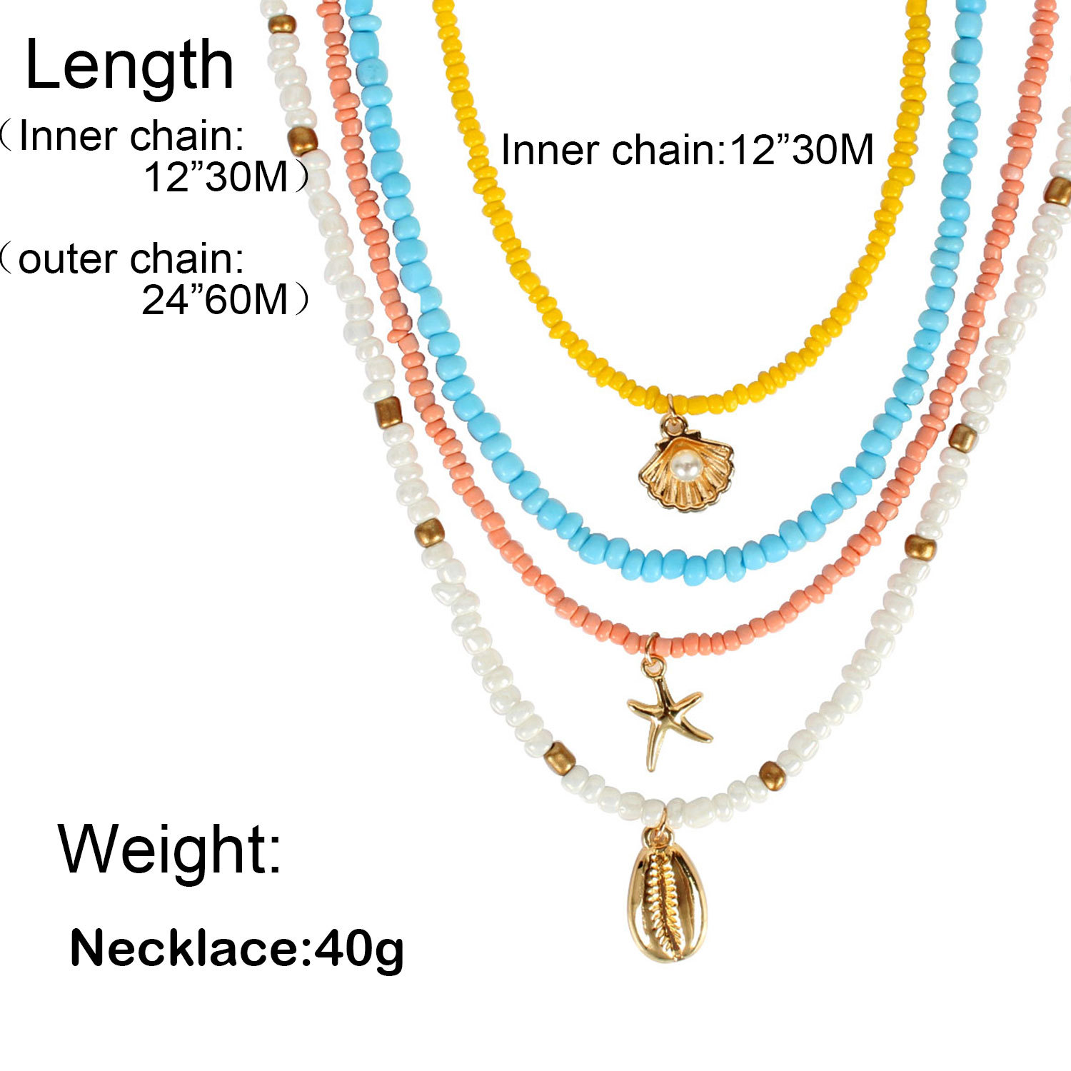 Personality wild beaded shell starfish color rice beads necklace women NHCT181574