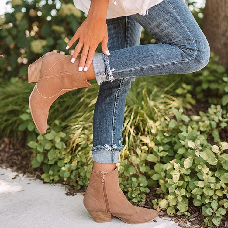 Aliexpress hot style plus spliced suede boots for women 2019 new styles in the us and us with chunky heels and high heels for women