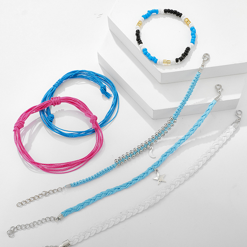 New hand-woven wax line rice beads star moon pendant cord bracelet set NHGY195404