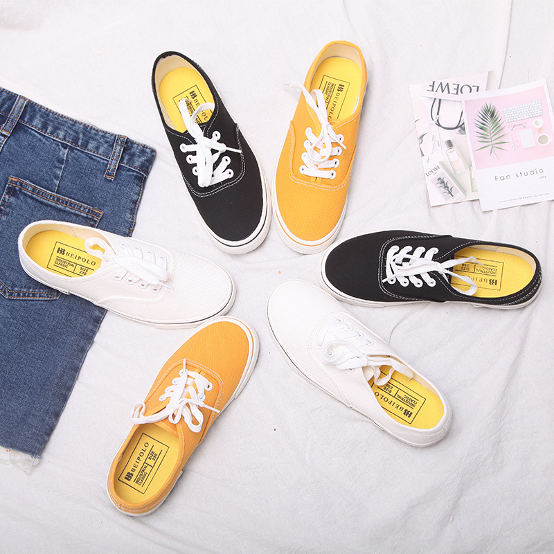 Spring And Summer Candy Color Low Canvas Shoes Female Korean Casual Shoes Literary White Shoes Flat Student Shoes Shoes