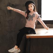女童休闲裙裤套装一件代发秋装新款2019中大儿童韩版蝴蝶结两件套