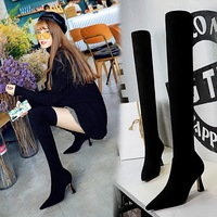 1289-2 European and American fashion sexy nightclub slim boots wine cup with high heel pointed suede over knee boots