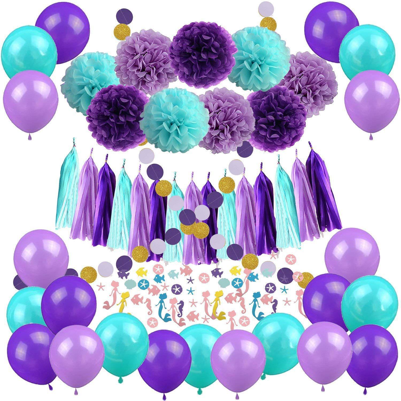 亚马逊紫色纸花球纸流苏纸串拉花纸屑美人鱼主题生日派对装饰用品