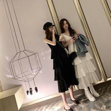 V领吊带连衣裙女夏季韩版学生宽松露背裙子百搭中长款白色蛋糕裙