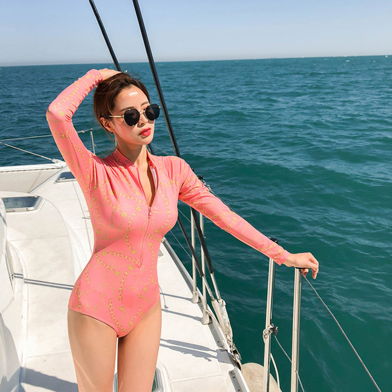 New hot spring one-piece long-sleeved sexy triangle swimsuit for women NHHL198841