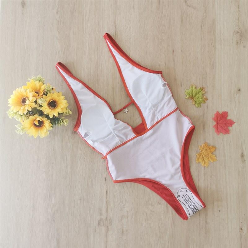 New solid color one-piece bikini one-piece big backless swimwear sports swimwear wholesale NHHL198414