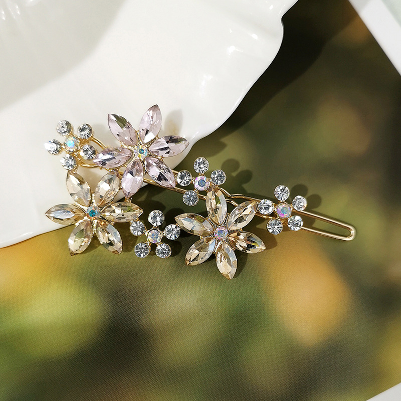 Sleek minimalist imitated crystal rhinestone flower hair accessories NHQD143726
