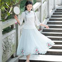 2020夏复古中国风汉服大摆裙民族风绣花百搭雪纺半身裙仙女裙