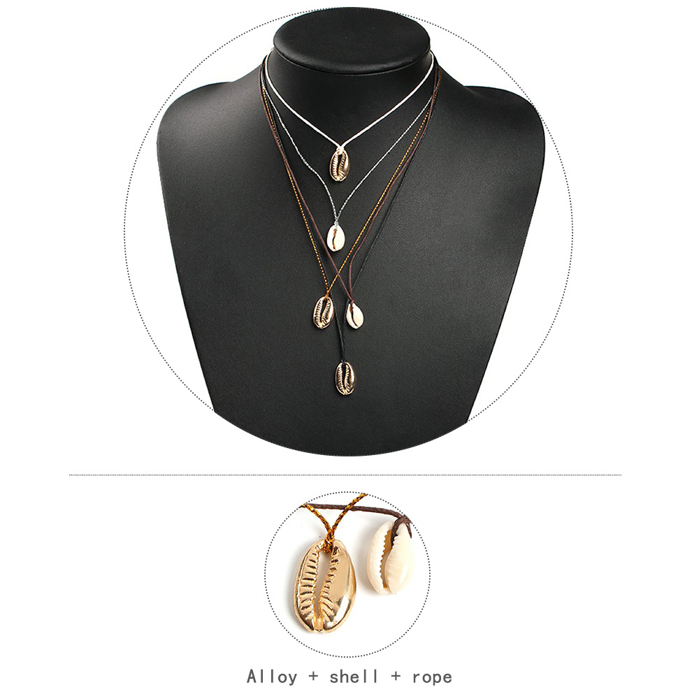 Womens Other Plating Alloy  Shell  Rope Necklaces NHMD120750